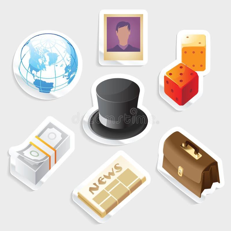 L'icona dell'autoadesivo ha impostato per il commercio globale royalty illustrazione gratis