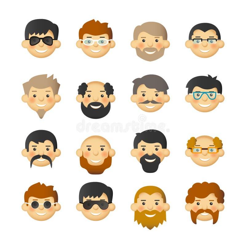 L'icona dell'avatar del fronte dell'uomo ha messo con le barbe, i baffi, i vetri e le guance ottimistiche illustrazione vettoriale