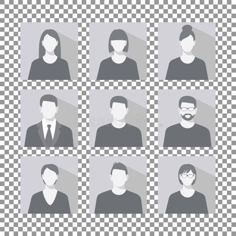 L'icona dell'immagine di profilo dell'avatar ha fissato l'inclusione il maschio e della femmina illustrazione vettoriale