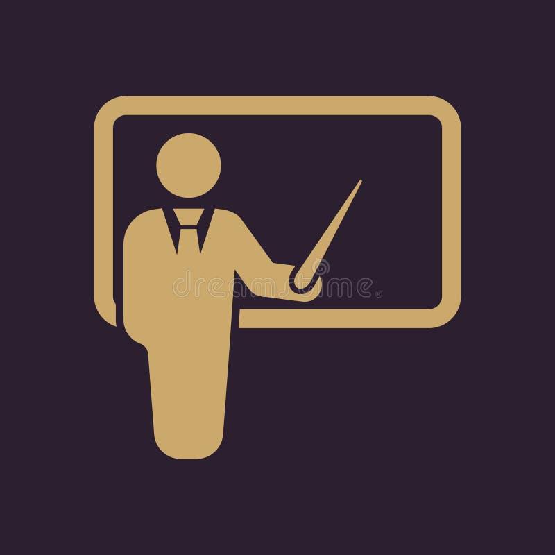 L'icona dell'insegnante Addestramento e presentazione, seminario, imparante simbolo piano illustrazione di stock