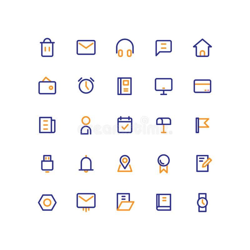 L'icona dell'interfaccia utente fissa il vettore del profilo illustrazione di stock