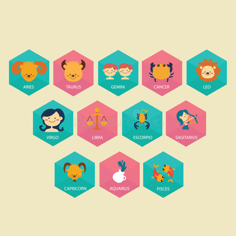 L'icona dell'oroscopo dello zodiaco ha messo nell'illustrazione piana del disegno di vettore del fumetto colore-pieno royalty illustrazione gratis