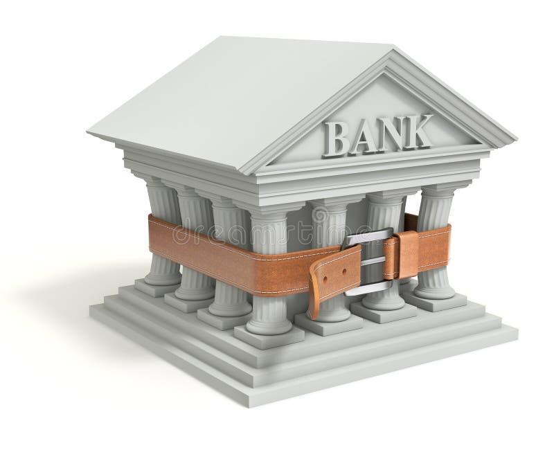 L'icona della Banca 3d con stringe la cinghia illustrazione vettoriale