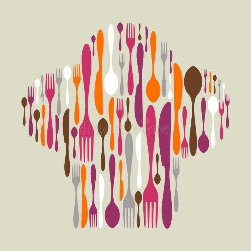 L'icona della coltelleria ha impostato nella forma del cappello del cuoco unico royalty illustrazione gratis