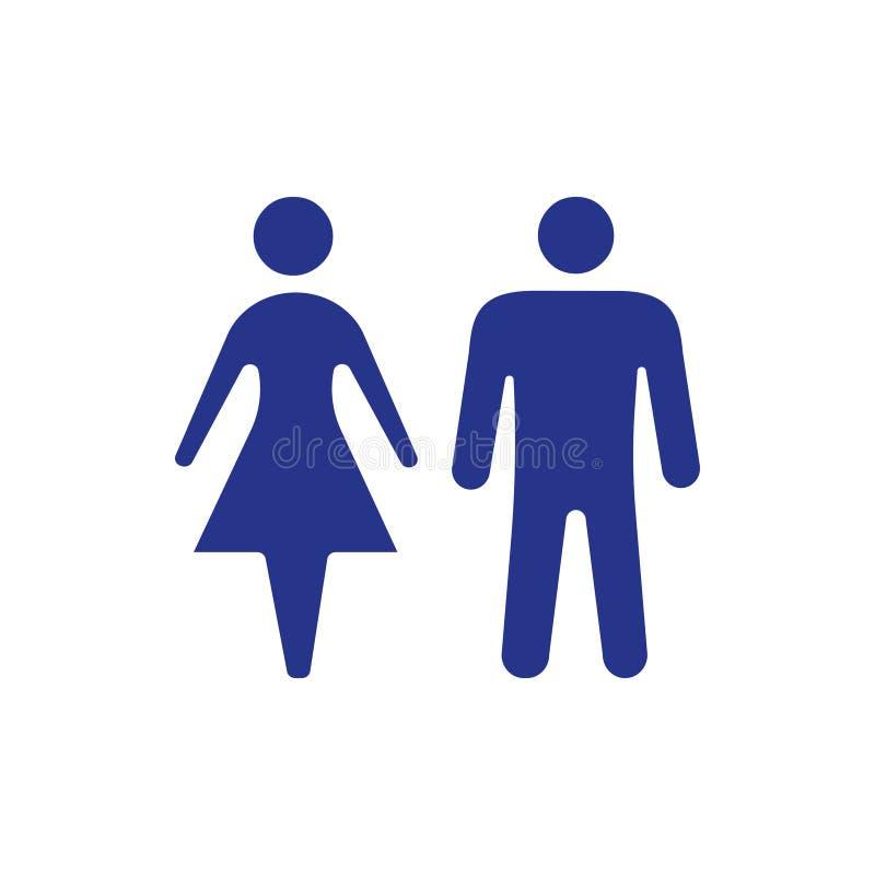 L'icona della donna e dell'uomo immagazzina lo stile piano di progettazione dell'illustrazione di vettore royalty illustrazione gratis