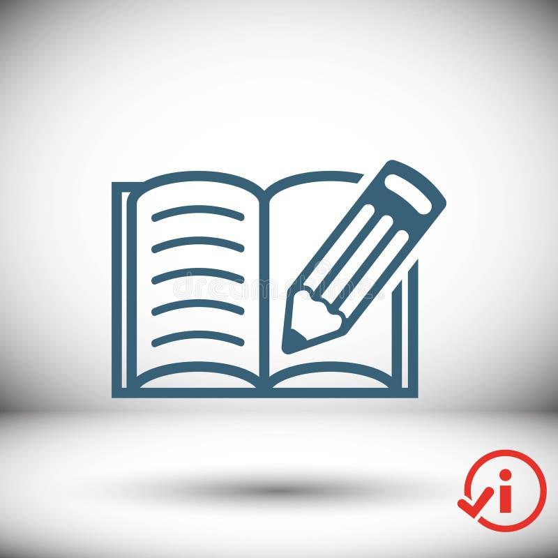 L'icona della matita e del libro aperto immagazzina la progettazione piana dell'illustrazione di vettore illustrazione di stock