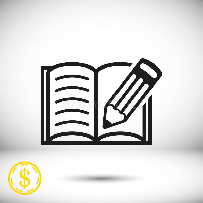 L'icona della matita e del libro aperto immagazzina la progettazione piana dell'illustrazione di vettore royalty illustrazione gratis