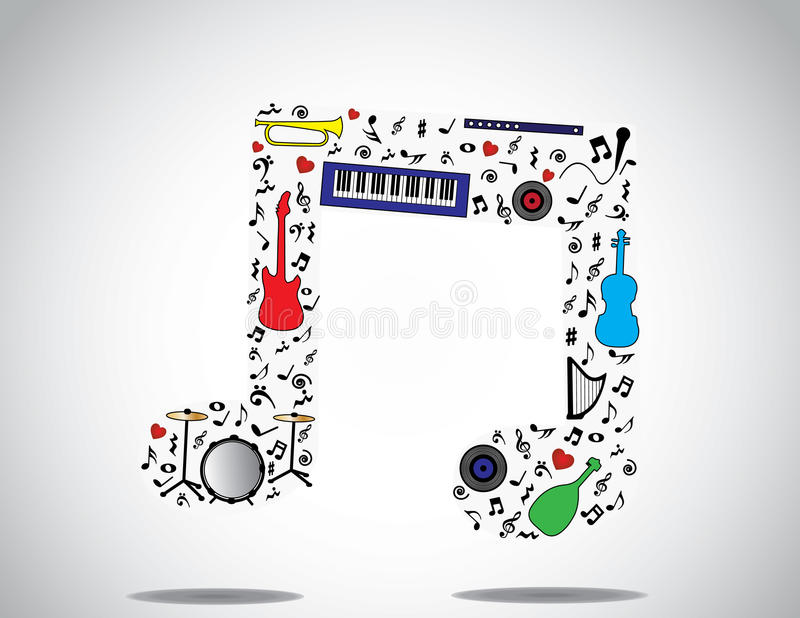 L'icona della nota di musica ha composto degli strumenti musicali e delle note differenti con un fondo bianco luminoso royalty illustrazione gratis