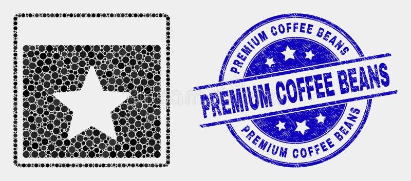 L'icona della pagina del calendario della stella del pixel di vettore ed i chicchi di caffè premio di lerciume timbrano la guarni royalty illustrazione gratis