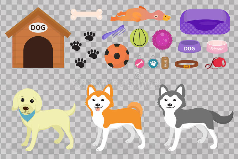 L'icona della roba dei cani ha messo con gli accessori per gli animali domestici, stile piano, su fondo bianco Raccolta degli ani illustrazione di stock