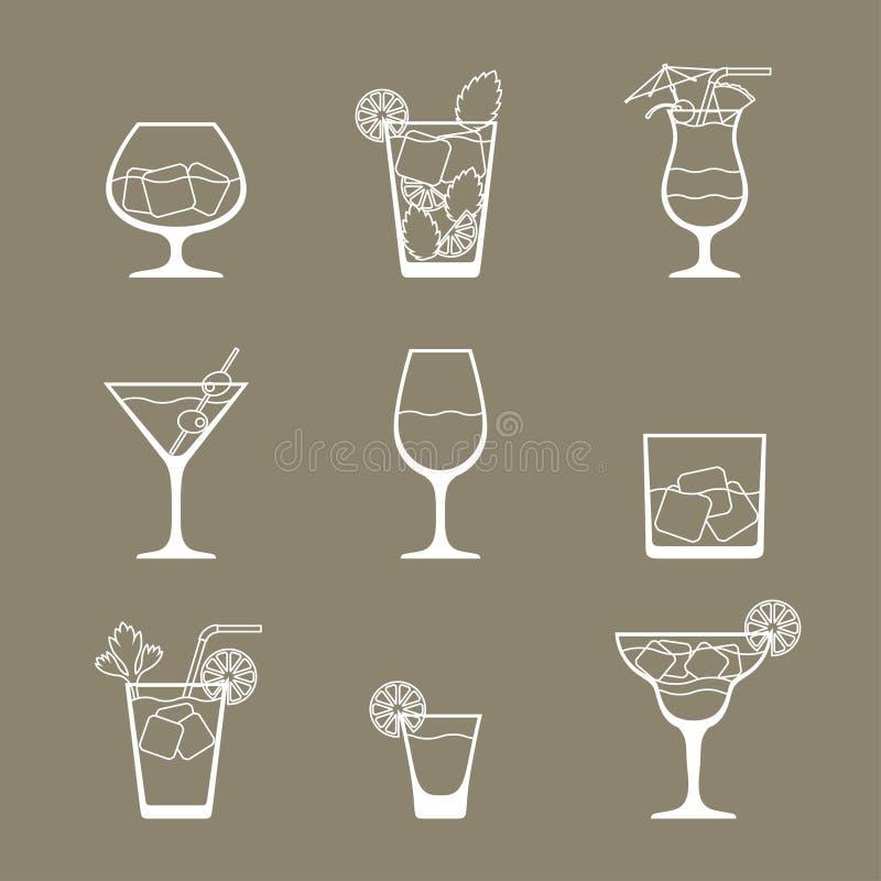 L'icona delle bevande e dei cocktail dell'alcool ha messo in piano royalty illustrazione gratis