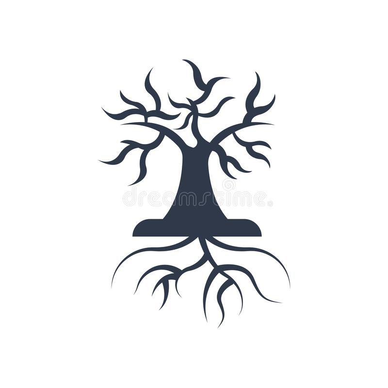 L'icona delle radici e dell'albero vector il segno ed il simbolo isolata sul BAC bianco illustrazione vettoriale