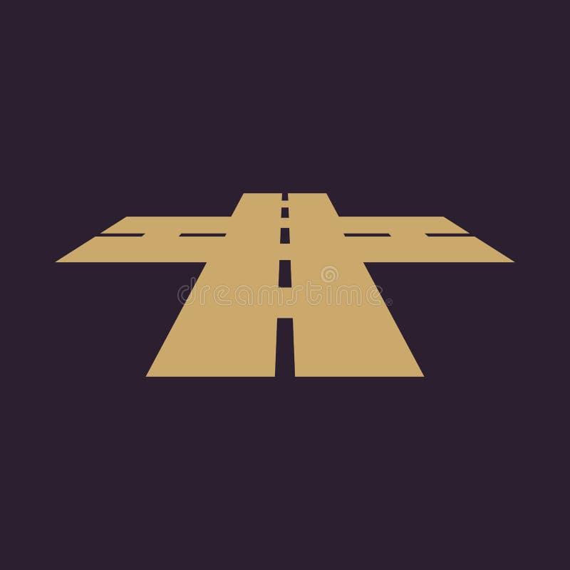 L'icona delle strade trasversali Crossway ed incrocio, intersezione, strada, simbolo dell'itinerario piano illustrazione di stock