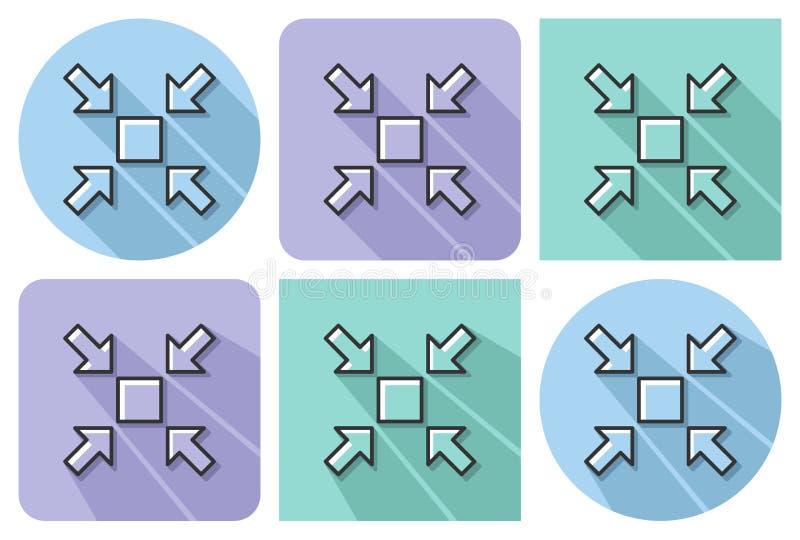 L'icona descritta di riduce le dimensioni dello schermo illustrazione vettoriale
