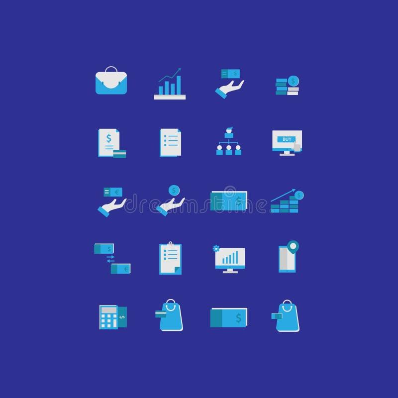 L'icona di affari fissa la progettazione piana royalty illustrazione gratis