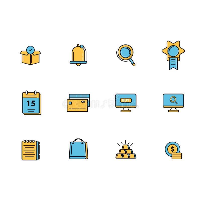 L'icona di commercio elettronico mette la linea riempita vettore royalty illustrazione gratis