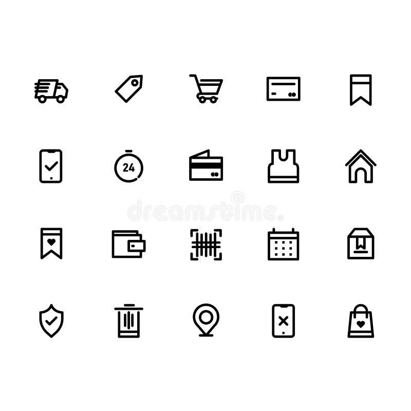 L'icona di commercio elettronico mette la linea vettore del profilo illustrazione vettoriale