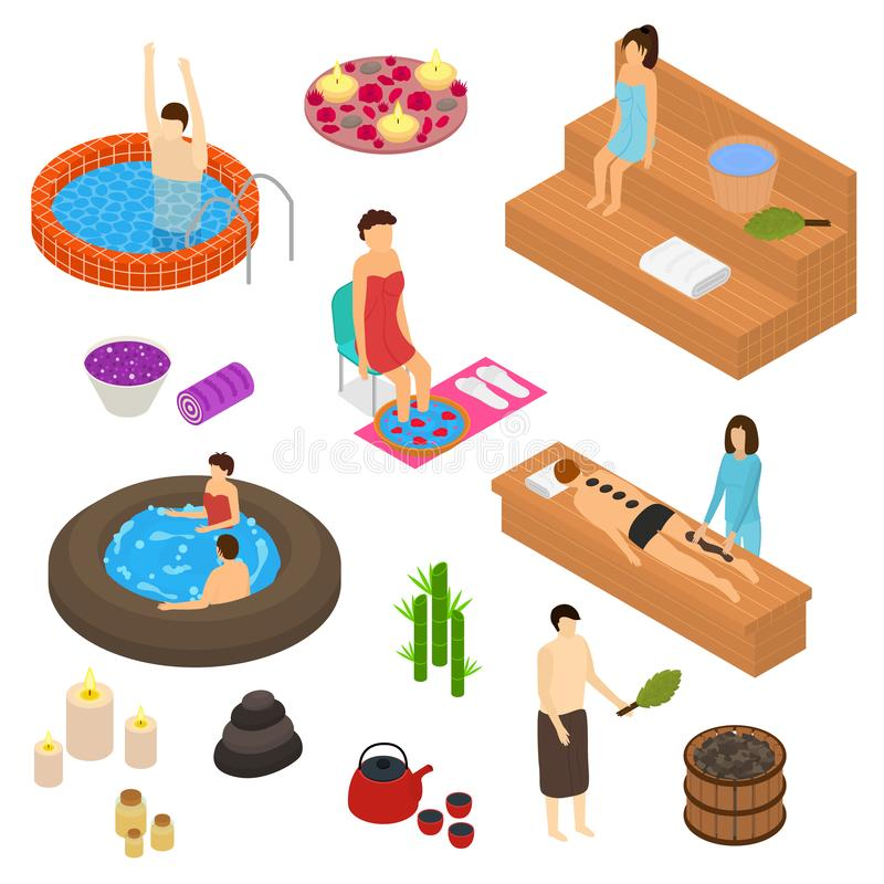 L'icona di concetto 3d degli elementi della Camera del bagno ha fissato la vista isometrica Vettore illustrazione di stock
