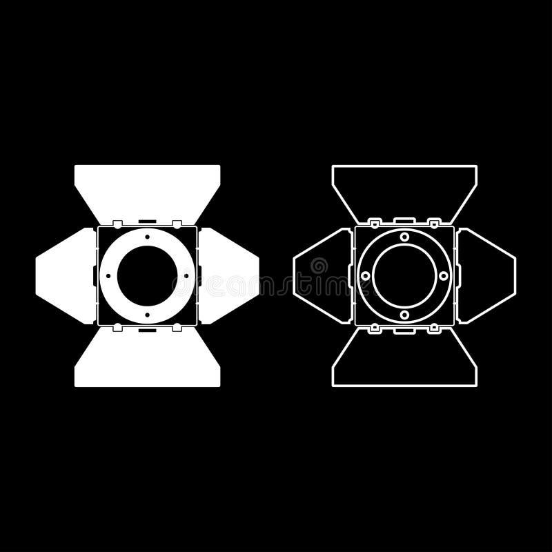 L'icona di concetto della luce del proiettore della lampada del punto dell'attrezzatura di film del riflettore di vista frontale  illustrazione vettoriale