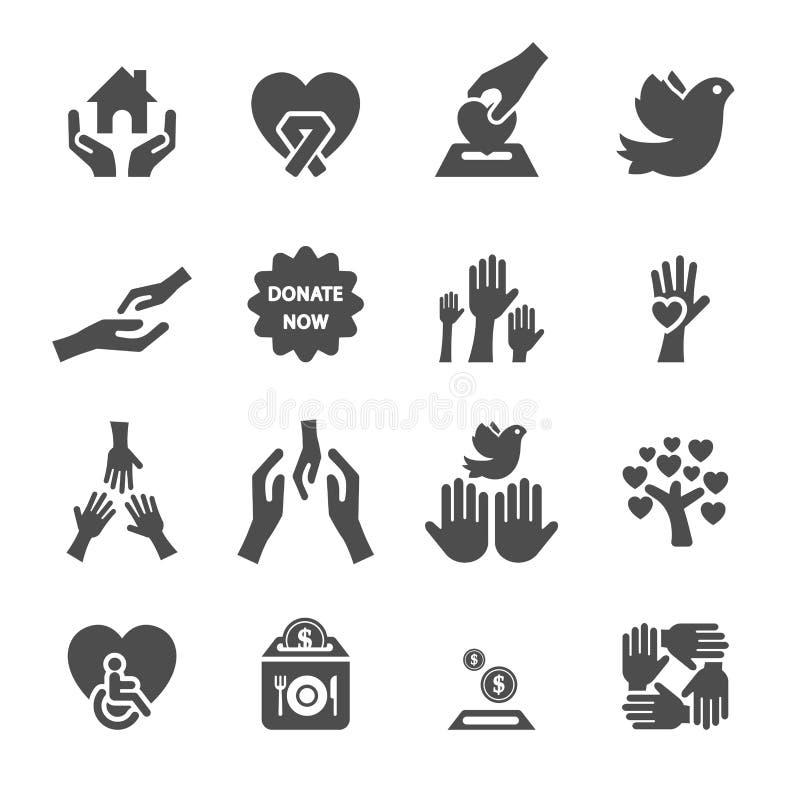L'icona di donazione e della carità ha messo 8 illustrazione di stock