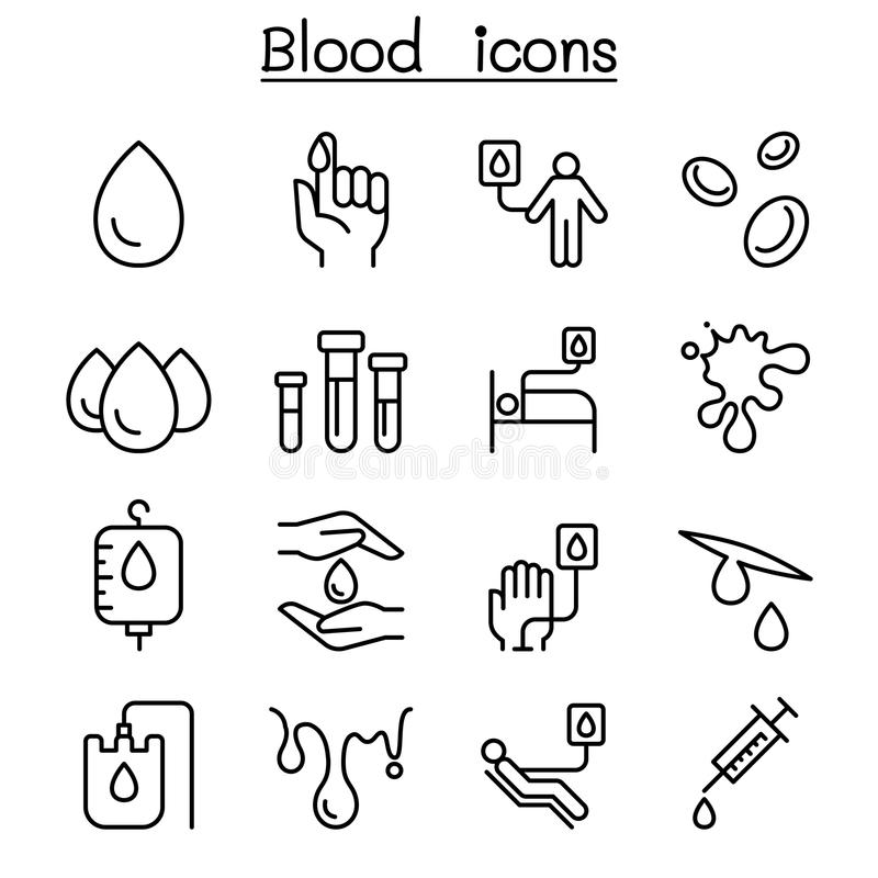 L'icona di donazione di sangue ha messo nella linea stile sottile illustrazione di stock