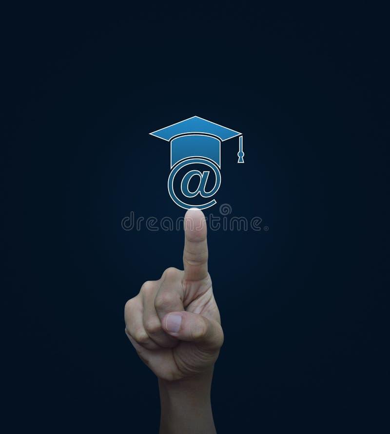 L'icona di e-learning di stampaggio a mano, studia il concetto online immagine stock libera da diritti