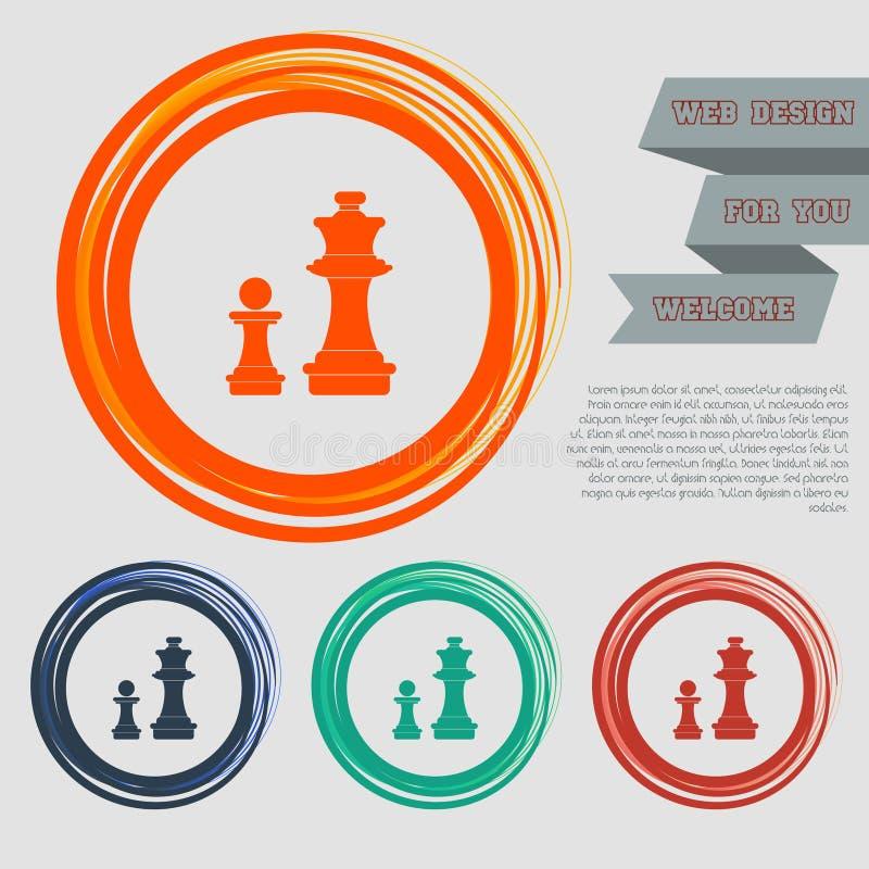 L'icona di scacchi sui bottoni rossi, blu, verdi, arancio per il vostro sito Web e sulla progettazione con spazio manda un sms a illustrazione vettoriale