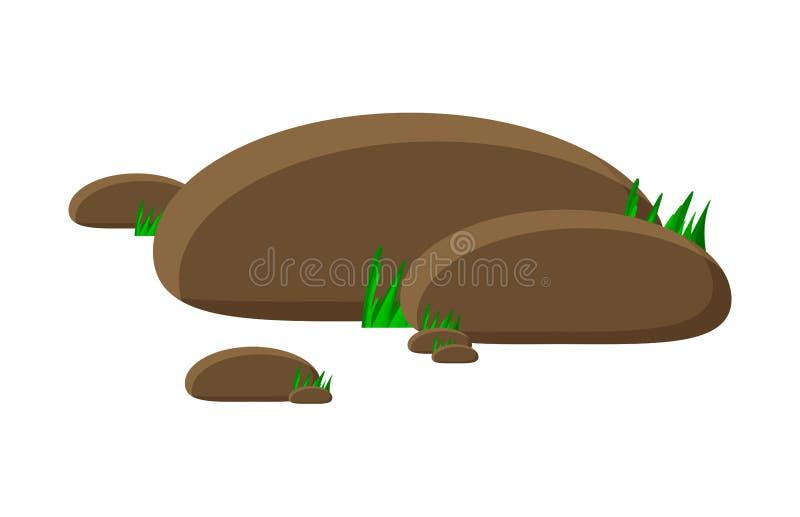 L'icona di simbolo di vettore del fumetto delle rocce e dell'erba progetta Bello ill royalty illustrazione gratis