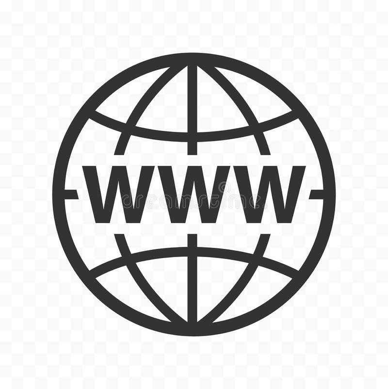 L'icona di simbolo di web del globo ha messo con il segno di WWW Icona del pianeta con il segno di World Wide Web illustrazione vettoriale