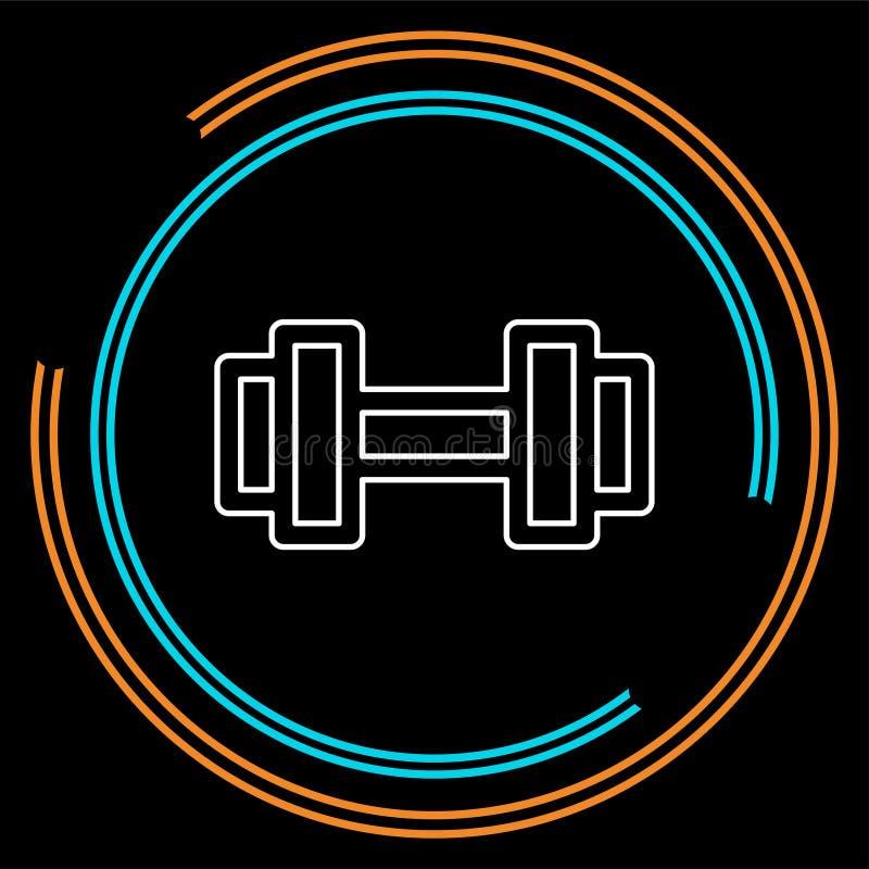 L'icona di sollevamento del muscolo, il bilanciere di forma fisica, l'icona della palestra, teste di legno di esercizio ha isolat illustrazione di stock