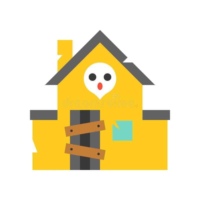 L'icona di vettore della casa frequentata, parco di divertimenti ha collegato lo stile piano illustrazione di stock