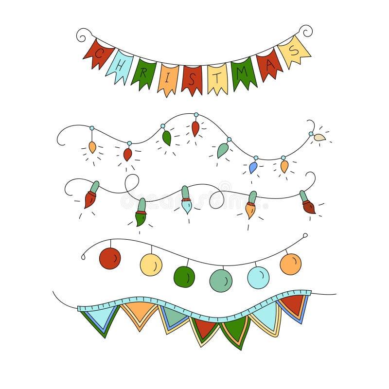 L'icona di vettore ha messo con la linea sottile simboli di colore delle ghirlande di Natale illustrazione vettoriale