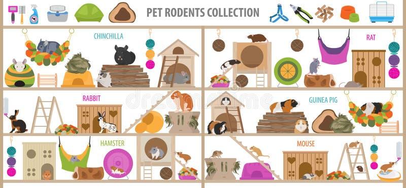 L'icona domestica degli accessori dei roditori dell'animale domestico ha fissato lo stile piano isolato su bianco Raccolta di san illustrazione vettoriale