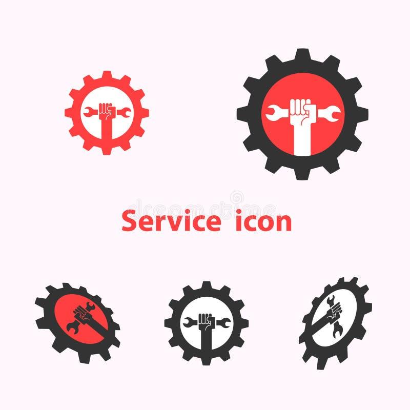 L'icona e la chiave umane della mano con il logo di vettore dell'ingranaggio progettano il modello illustrazione di stock