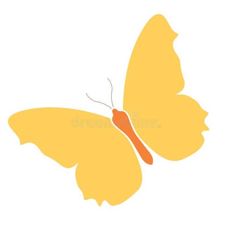 L'icona gialla della farfalla, logo di riserva ha isolato il fondo bianco Bello simbolo variopinto delle ali di colore Natura tro illustrazione di stock