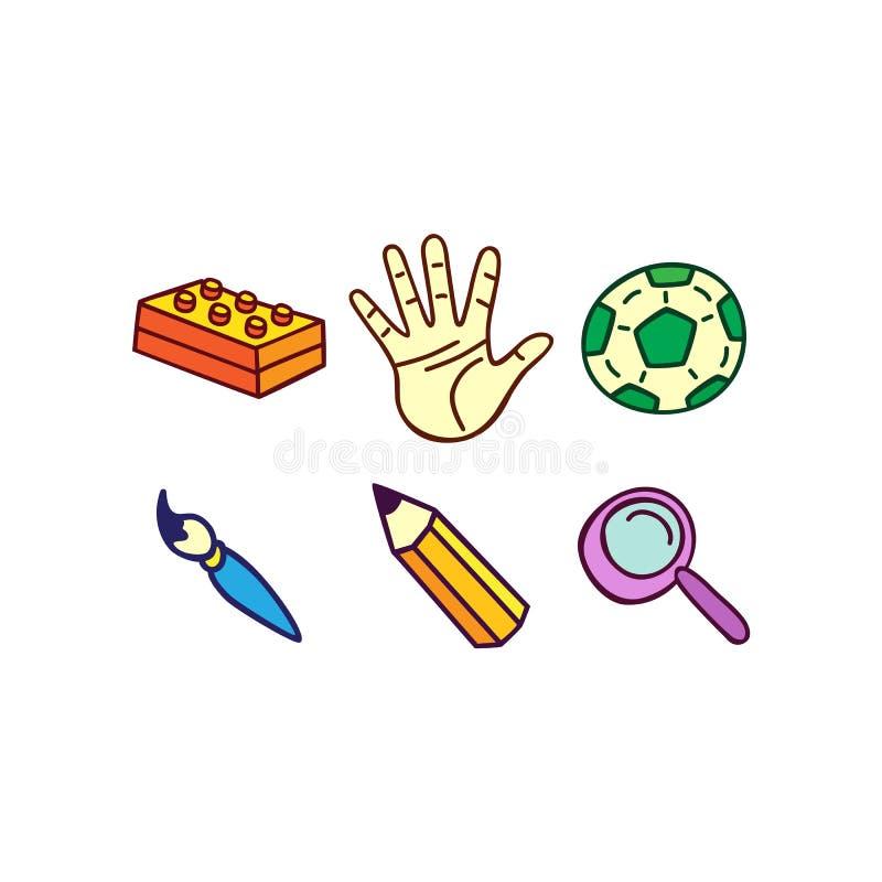 L'icona ha messo sul tema dei giochi del ` s dei bambini o dell'istruzione, a mano DRA royalty illustrazione gratis