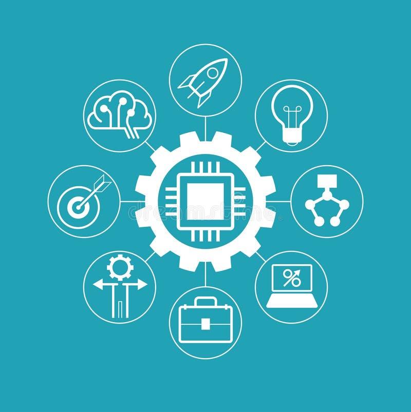 L'icona innesta con il chip di computer circondato dalle icone e dalle innovazioni di affari illustrazione vettoriale