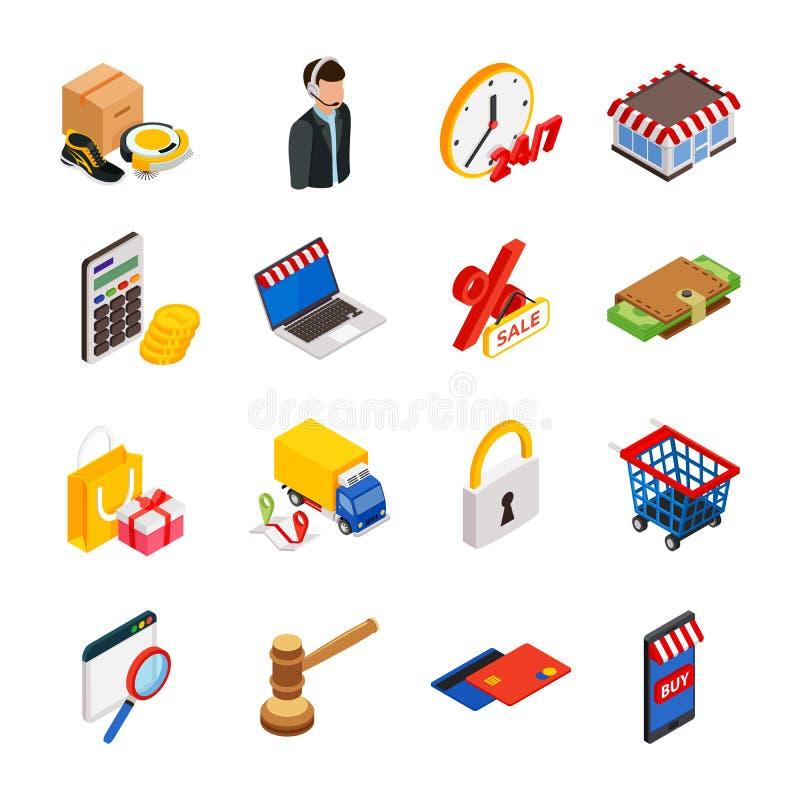L'icona isometrica di commercio elettronico ha messo con gli aggeggi per l'acquisto su Internet e sui simboli di compera illustrazione di stock