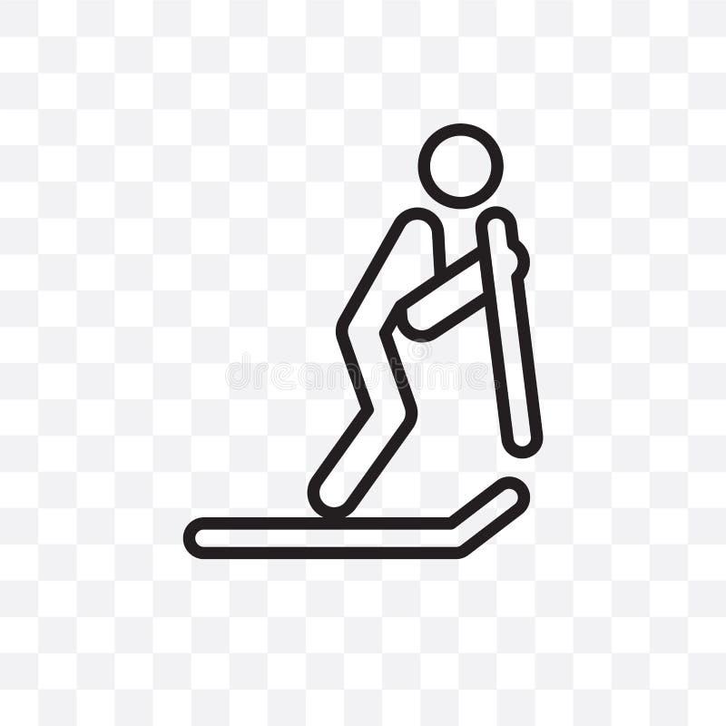 L'icona lineare di sci di vettore della persona isolata su fondo trasparente, concetto di sci della trasparenza della persona può royalty illustrazione gratis