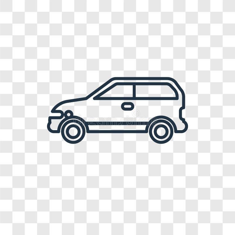 L'icona lineare di vettore di concetto dell'automobile di energia di Eco isolata sopra transparen illustrazione di stock