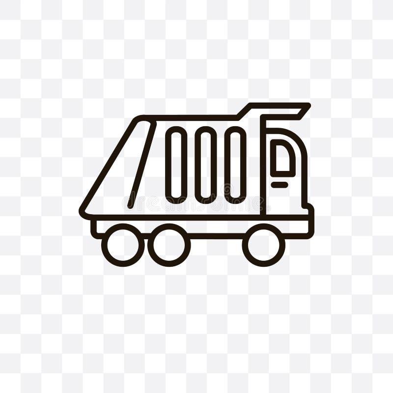 L'icona lineare di vettore del camion di immondizia isolata su fondo trasparente, concetto della trasparenza del camion di immond royalty illustrazione gratis