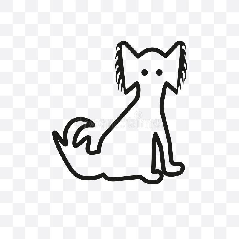 L'icona lineare di vettore del cane di pechinese isolata su fondo trasparente, concetto della trasparenza del cane di pechinese p illustrazione di stock