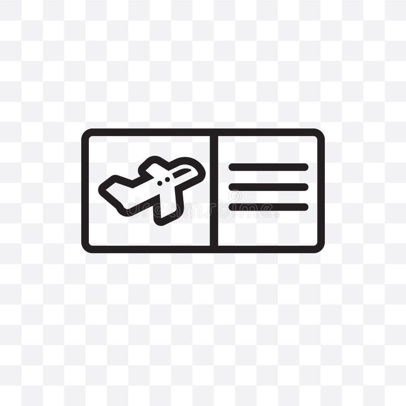 L'icona lineare di vettore del passaggio di imbarco isolata su fondo trasparente, concetto della trasparenza del passaggio di imb illustrazione di stock