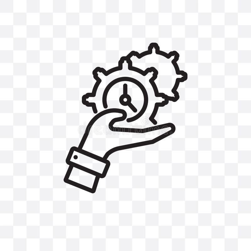 L'icona lineare di vettore della gestione di tempo isolata su fondo trasparente, concetto della trasparenza della gestione di tem illustrazione di stock