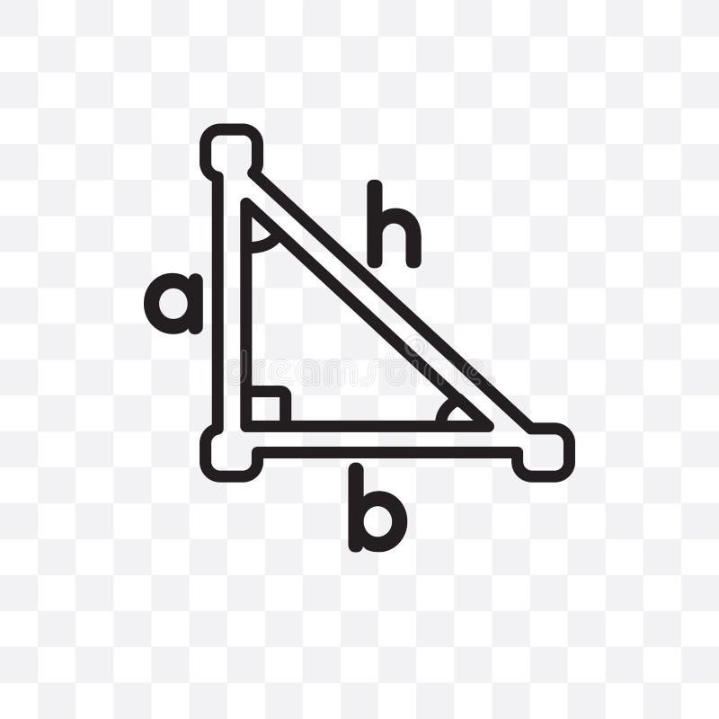 L'icona lineare di vettore della trigonometria isolata su fondo trasparente, concetto della trasparenza della trigonometria può e illustrazione di stock