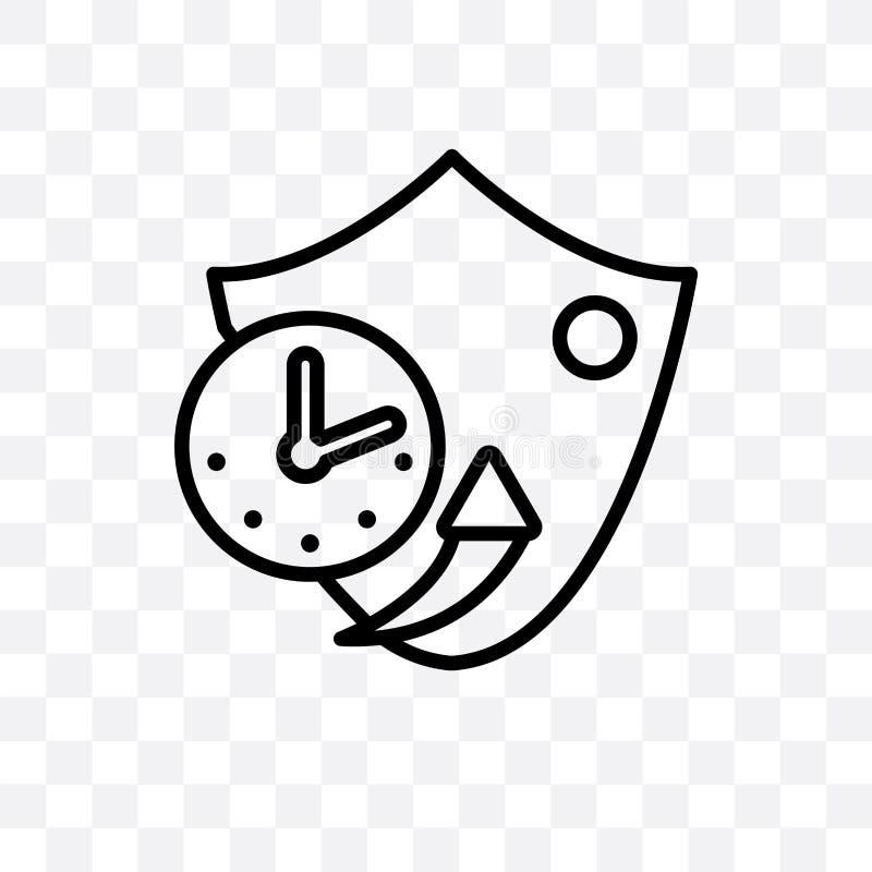 l'icona lineare di vettore a lungo termine della protezione isolata su fondo trasparente, concetto a lungo termine della traspare royalty illustrazione gratis