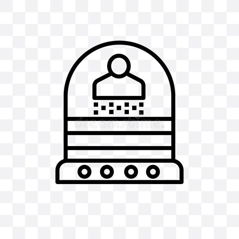 L'icona lineare di vettore di teletrasporto isolata su fondo trasparente, concetto della trasparenza di teletrasporto può essere  illustrazione vettoriale