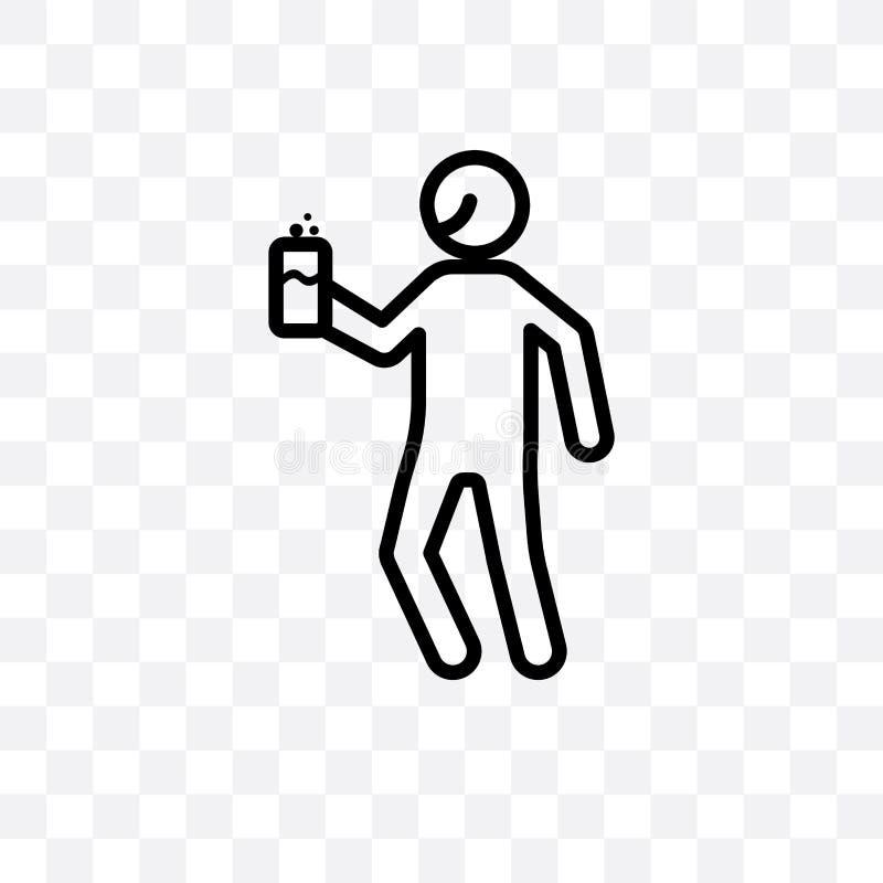 l'icona lineare di vettore umano contento isolata su fondo trasparente, concetto umano contento della trasparenza può essere usat illustrazione di stock