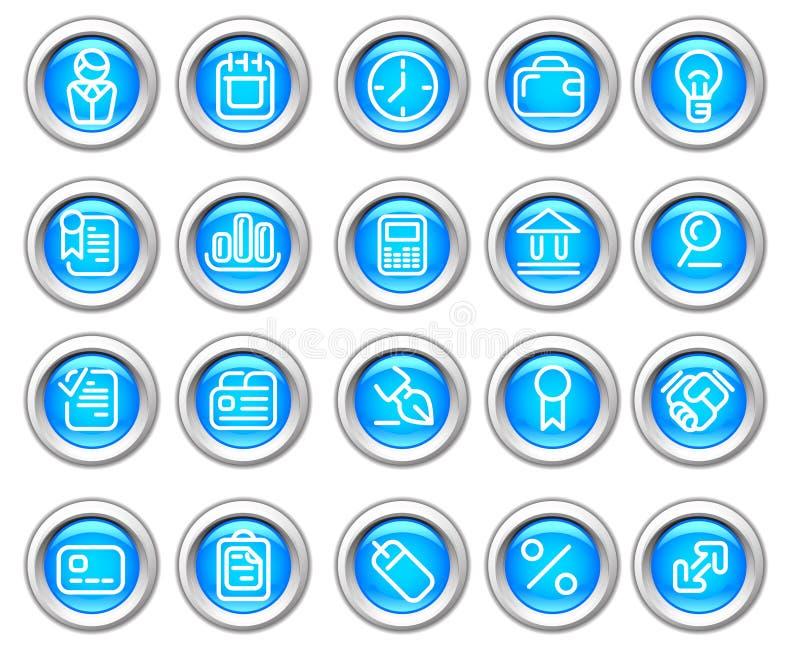 L'icona lucida di Silvero ha impostato: Commercio e finanze illustrazione di stock