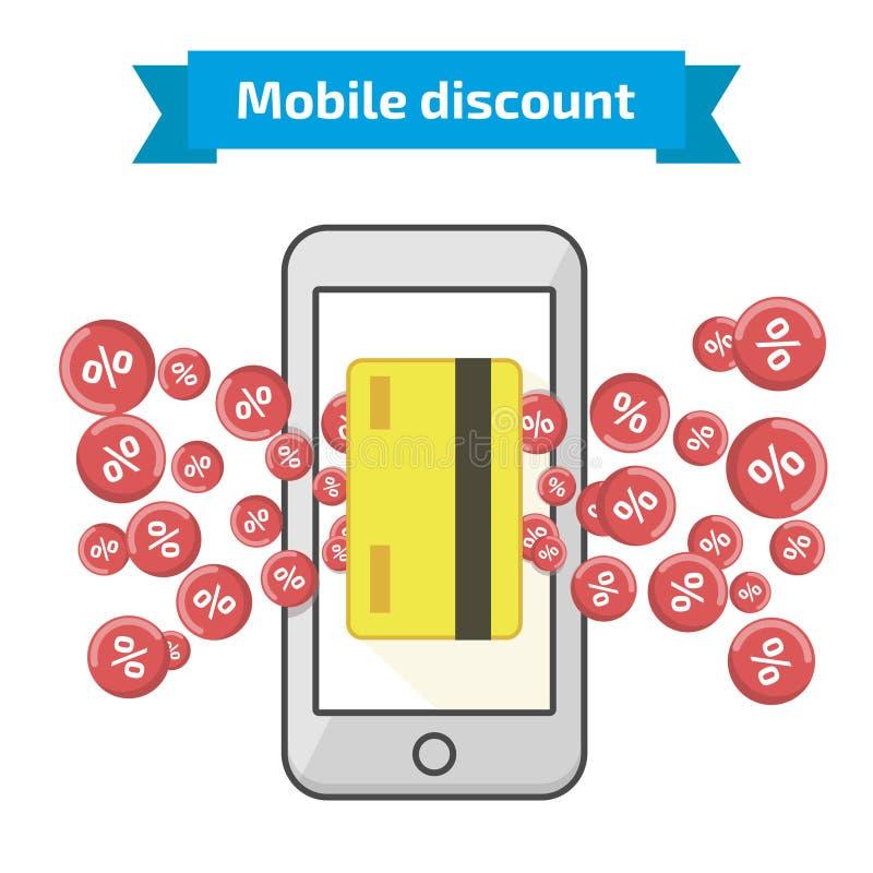 L'icona mobile di sconto, vector l'illustrazione piana di stile royalty illustrazione gratis